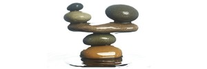 carefully balance stones in water