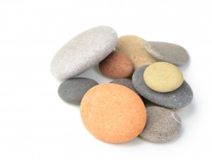 Various colors of piled pebbles